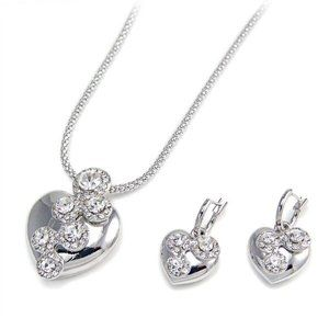 Heart and Crystal Necklace w Earrings